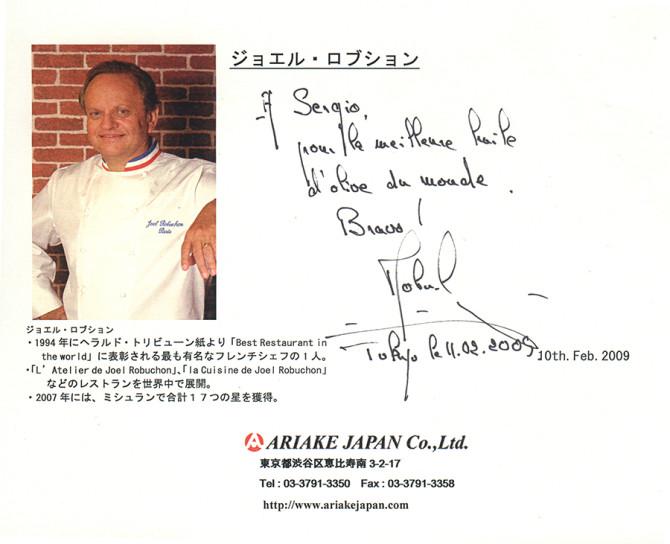 Masía el altet y Joël Robuchon en Japón.