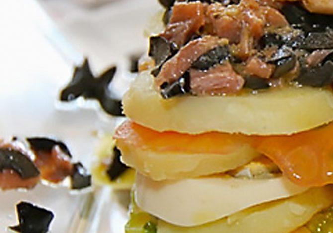 Ensalada de patatas y productos del mar