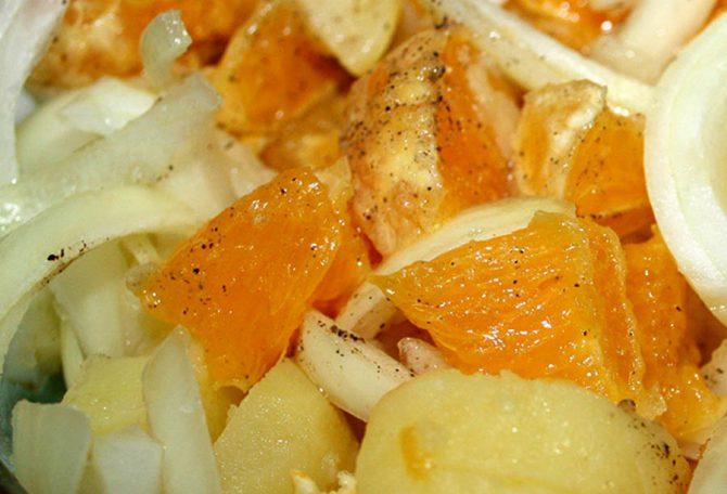 Ensalada de patatas y naranja