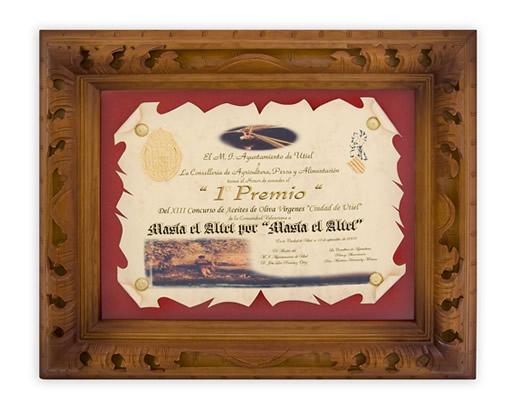 Primer premio y diploma
