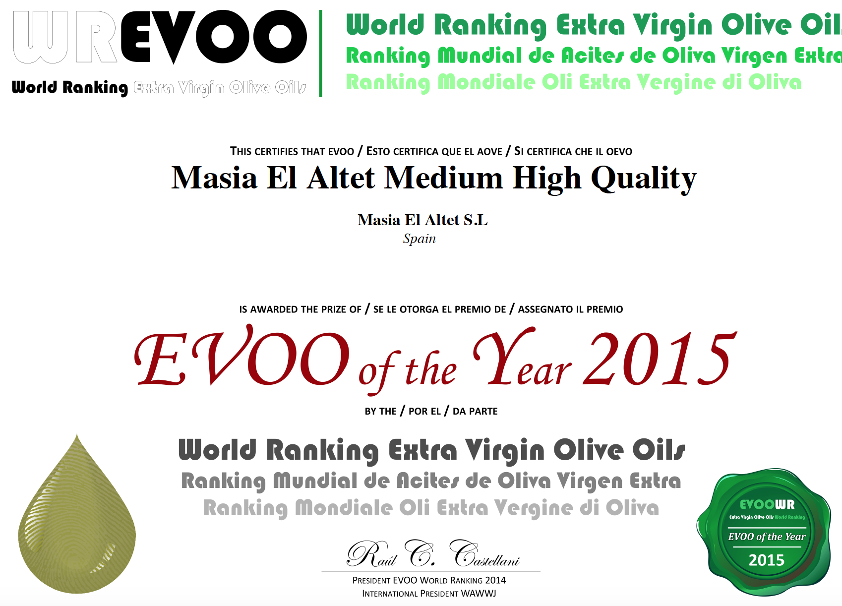 TOP 50 MEJORES ACEITES DE OLIVA VIRGENES EXTRA DEL MUNDO (HIGH QUALITY)