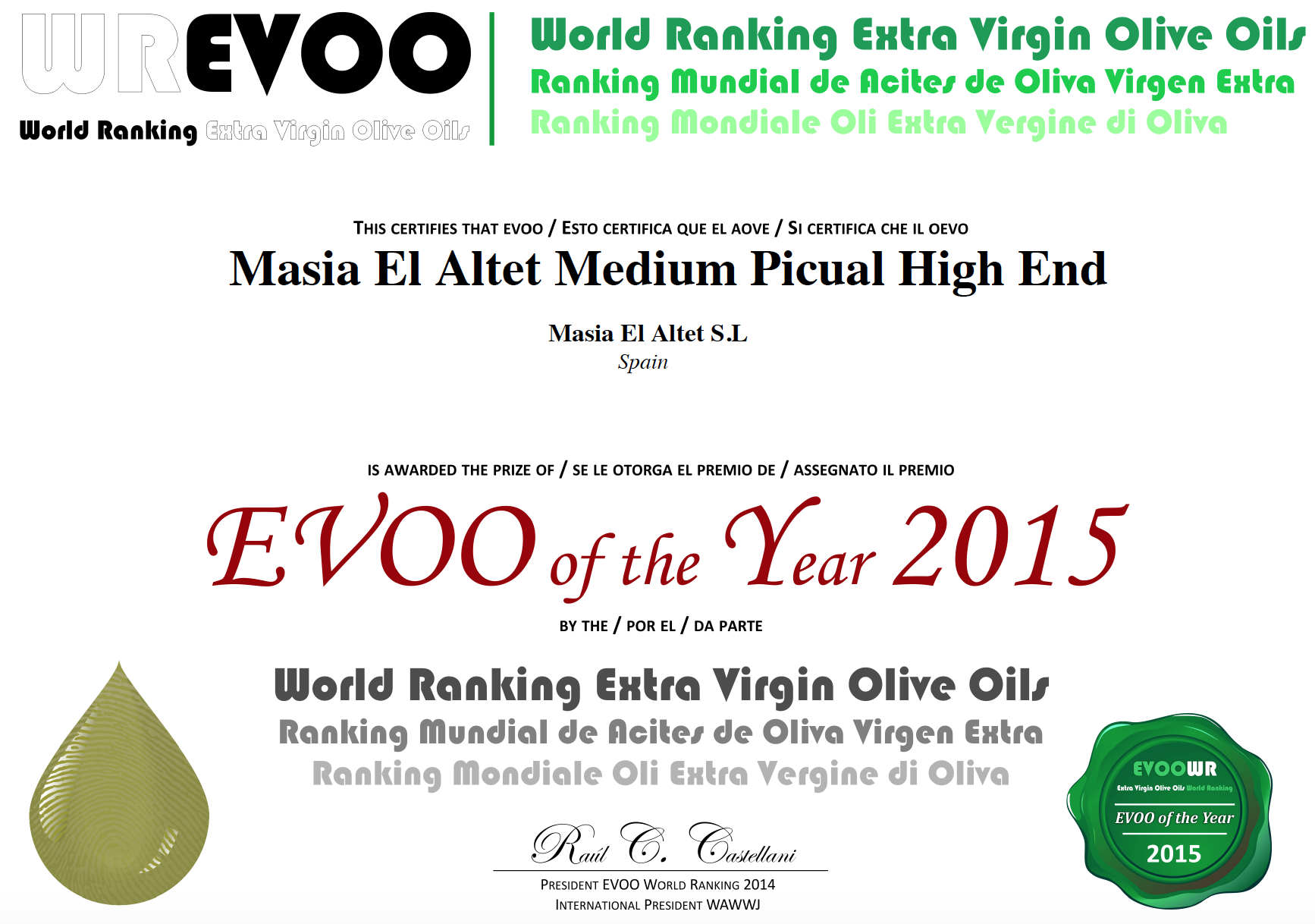 TOP 50 MEJORES ACEITES DE OLIVA VIRGENES EXTRA DEL MUNDO (HIGH END)
