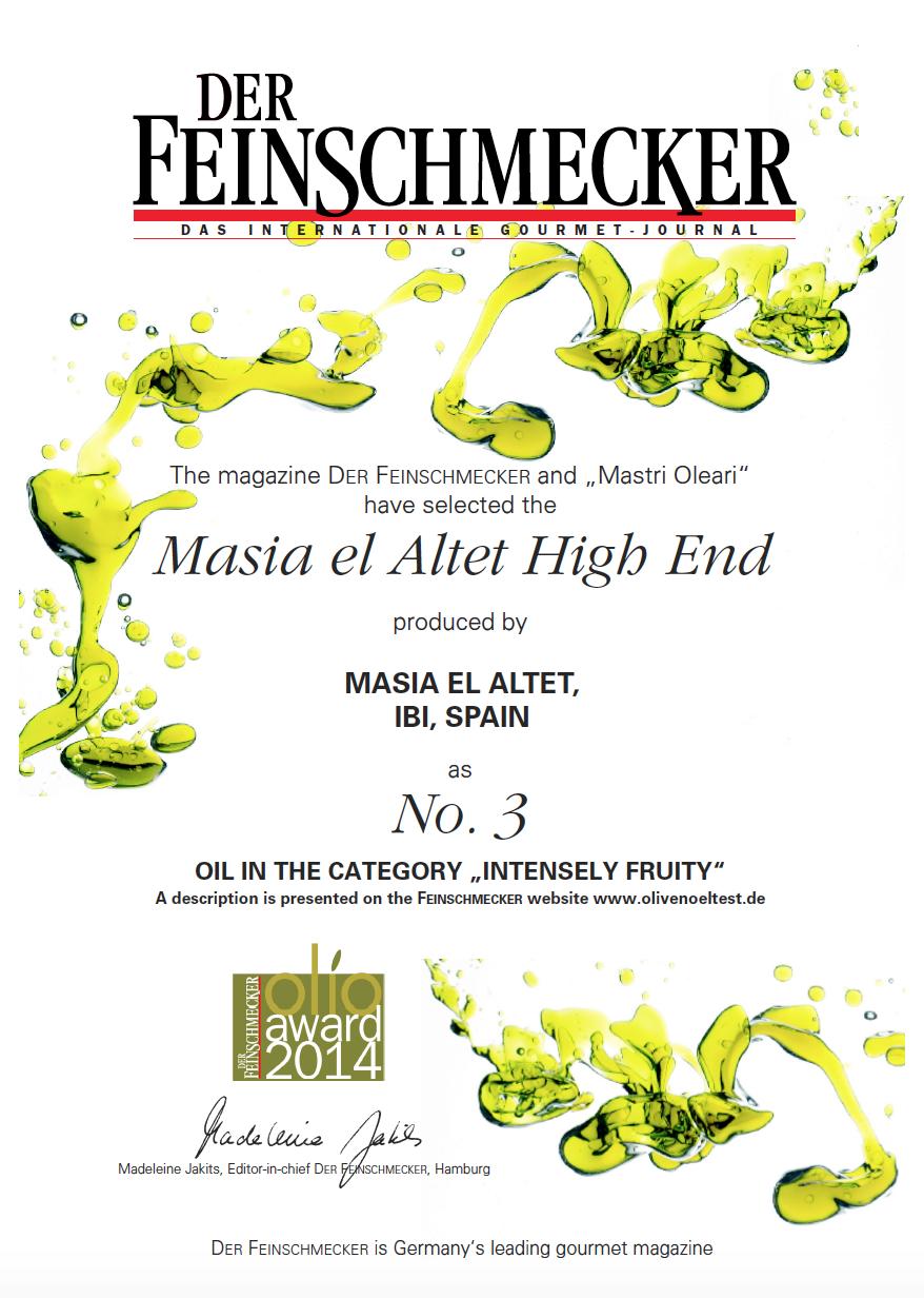 Tercer Mejor aceite de oliva Der Feinschmecker